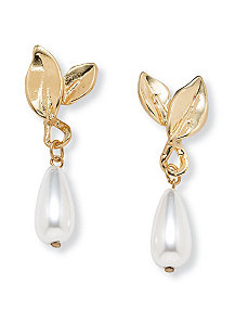 Sim. Pearl Teardrop Earrings by PalmBeach Jewelry