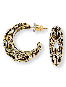 Antiqued Hoop Earrings by PalmBeach Jewelry