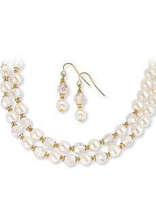 Simulated Pearl & Crystal Set by PalmBeach Jewelry