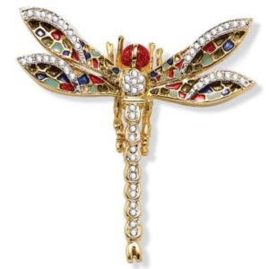 Crystal Dragonfly Pin