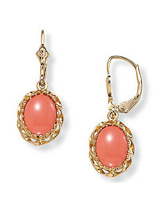 Simulated Coral Earrings by PalmBeach Jewelry