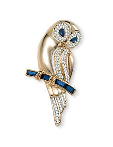 Crystal Owl Pin by PalmBeach Jewelry