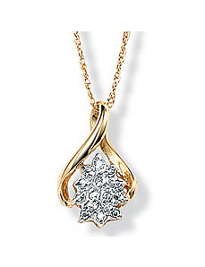 Diamond Cluster 10k Pendant by PalmBeach Jewelry