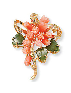 Coral/Jade Flower Pin by PalmBeach Jewelry