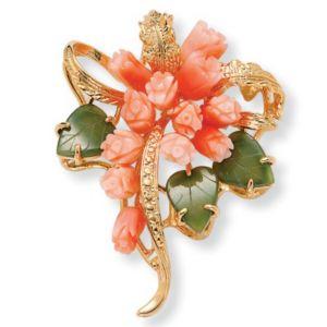 Coral/Jade Flower Pin