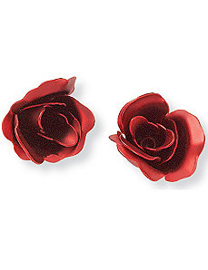 Red Rose Earrings by PalmBeach Jewelry