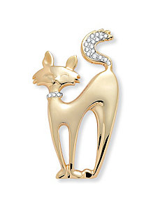 Crystal Cat Pin by PalmBeach Jewelry