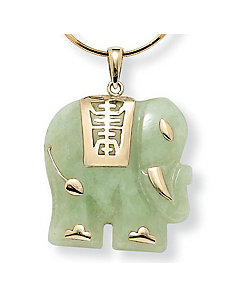 Jade Elephant 14k Gold Pendant by PalmBeach Jewelry