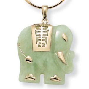 Jade Elephant 14k Gold Pendant
