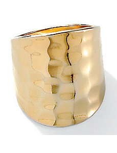 Hammered-Style 18k/SS Ring by PalmBeach Jewelry