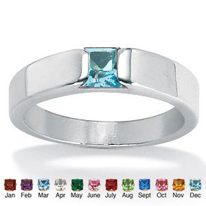 Princess-Cut Birthstone Stack Ring
