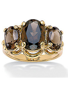 18k/SS Smoky Quartz Ring by PalmBeach Jewelry