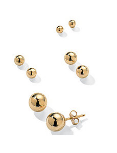 4-Pair 14k Ball Earring Set by PalmBeach Jewelry