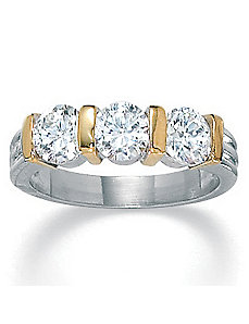 Cubic Zirconia Tutone Ring by PalmBeach Jewelry