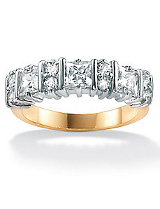 Cubic Zirconia Round/Princess-Cut Ring by PalmBeach Jewelry
