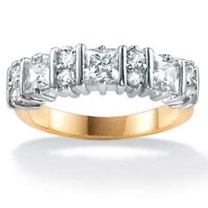 Cubic Zirconia Round/Princess-Cut Ring