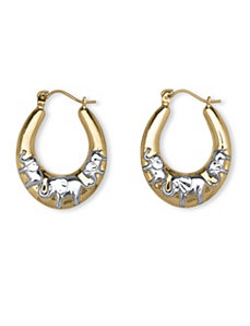 10k Two-Tone Elephant Earrings by PalmBeach Jewelry