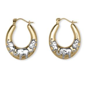 10k Two-Tone Elephant Earrings