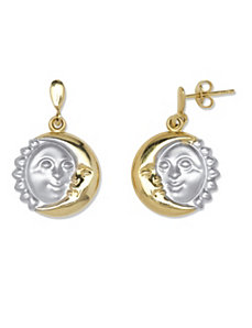 Sun and Moon Two-Tone Earrings by PalmBeach Jewelry