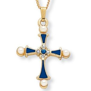 Simulated Pearl Cross Pendant