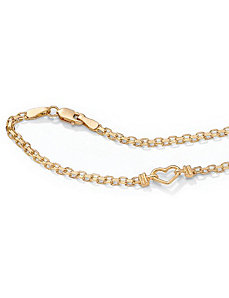 "10k Gold Heart Anklet 9"" by PalmBeach Jewelry"