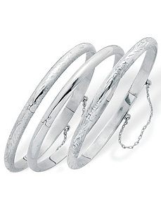 Set of Three Bangle Bracelets by PalmBeach Jewelry