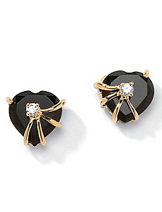 Onyx Heart Earrings by PalmBeach Jewelry