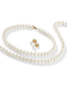 3-Piece Freshwater Pearl 14k Set by PalmBeach Jewelry