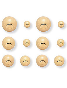 6-Pairs Ball Earring Set by PalmBeach Jewelry