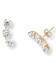 Cubic Zirconia 14k Gold Earrings by PalmBeach Jewelry