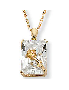 Cubic Zirconia Rose Pendant by PalmBeach Jewelry