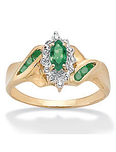 Emerald/Diamond Acc. 10k Ring by PalmBeach Jewelry