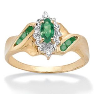 Emerald/Diamond Acc. 10k Ring
