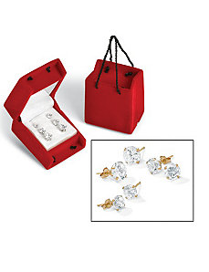 3-Paircubic zirconia 10k Earring Set by PalmBeach Jewelry