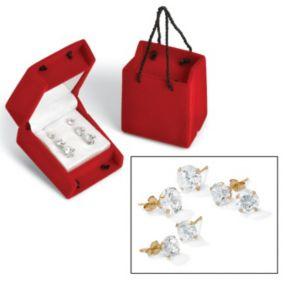 3-Paircubic zirconia 10k Earring Set