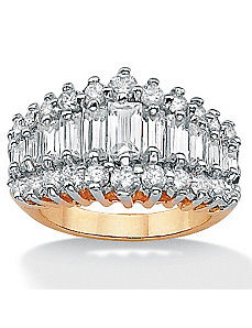 Cubic Zirconia 18k/Silver Ring by PalmBeach Jewelry