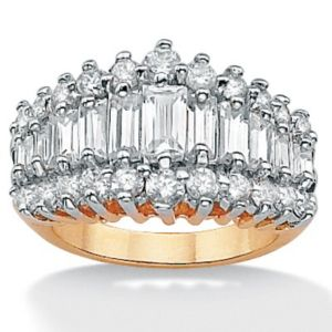Cubic Zirconia 18k/Silver Ring