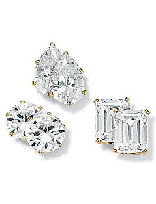 18k/SS 3-Pair Earring Set by PalmBeach Jewelry