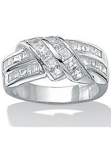 Cubic Zirconia Silver Band by PalmBeach Jewelry
