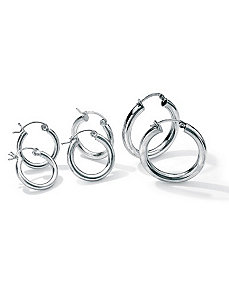 3-Pair Silver Hoop Set by PalmBeach Jewelry