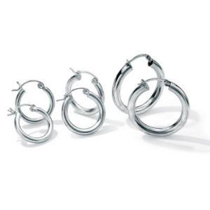 3-Pair Silver Hoop Set