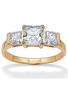 Cubic Zirconia 10k Gold Ring by PalmBeach Jewelry