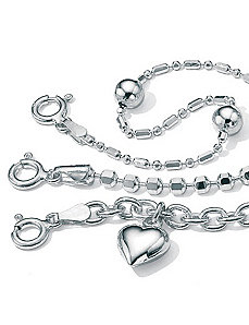 "3-Piece Anklet Set 9"" by PalmBeach Jewelry"