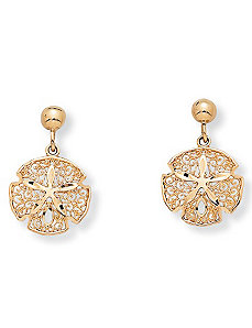 10k Gold Sand Dollar Earrings by PalmBeach Jewelry