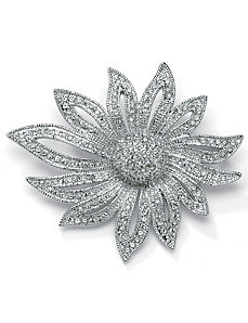 Crystal Flower Pin by PalmBeach Jewelry