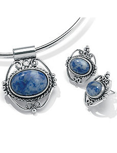 2-Piece Sim. Blue Lapis Set by PalmBeach Jewelry