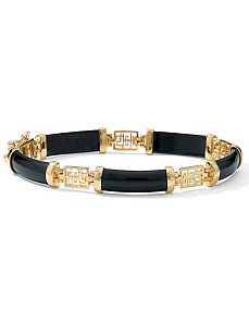 "Onyx""Longevity""Bracelet 7 1/4"" by PalmBeach Jewelry"