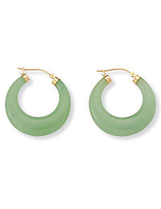 Jade 14k Gold Hoop Earrings by PalmBeach Jewelry