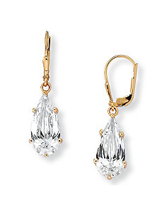 Cubic Zirconia 18k/SS Earrings by PalmBeach Jewelry