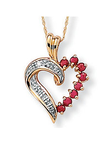 Ruby 10k Gold Heart Pendant by PalmBeach Jewelry